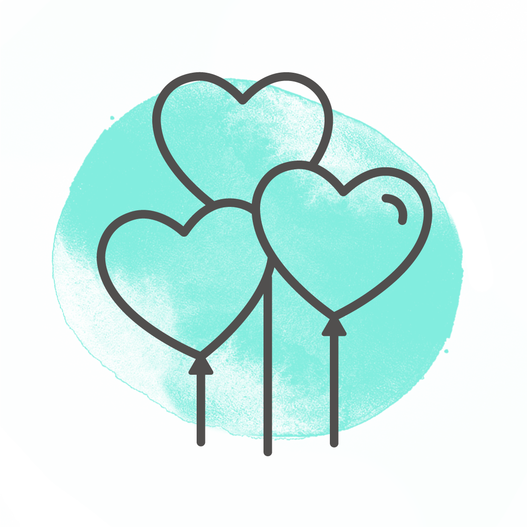 Gifting heart-shaped three balloons outline